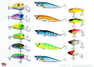 LOT OF 16 FISHING LURES TOP WATER POPPER VIB BAIT HARD SWIMBAIT WOBBLER BASS