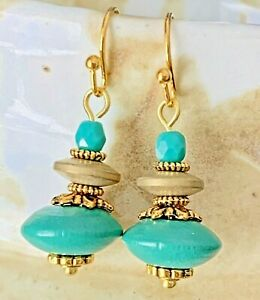Gold Tone and Teal Bead Earrings. $6.99