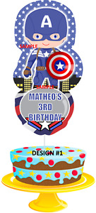 INSPIRED IN CAPTAIN AMERICA CAKE TOPPER - PERSONALIZED FOR BIRTHDAY - R1