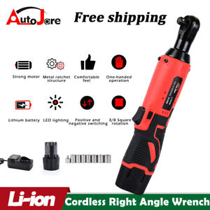 3 8#x27;#x27; Cordless Ratchet Right Angle Wrench Impact Power Tool Li ion 2 Battery US $43.88