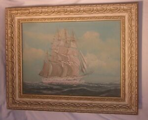 OLD FRAMED PAINTING OF A SAILING SHIP IN THE OCEAN WITH WOOD FRAME HAS SOME WEAR $59.99