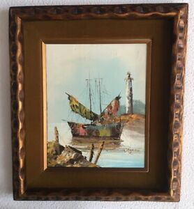 Chapman Original Oil On Canvas Painting Harbor Boat Lighthouse Signed OH Artist $49.99