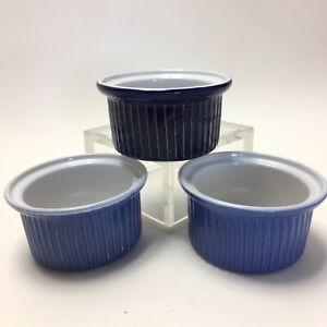 Emile Henry French Ribbed Oven Proof Custard Cups Brown Set of 3 Blue