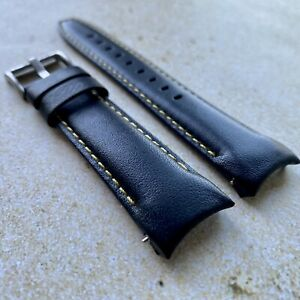 20mm BLACK Calfskin leather curved fitted Band Strap Rolex Sub Case YELLOW $69.99