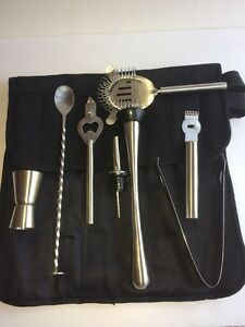 Bartenders Professional Cocktail Set 8 Piece With Case Stainless Steel