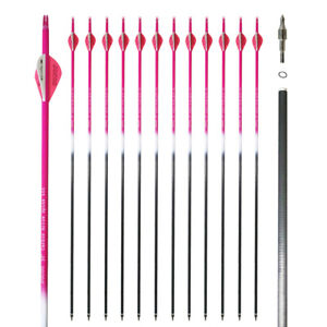12Pk 30inch Pure Carbon Arrow Fluorescence Pink Hunting and Target Arrows Sp400