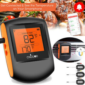 Digital Bluetooth Meat Thermometer Monitor w/ 3 Probes BBQ Smoker Grilling Oven