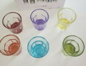 Stylesetter Crystal Colored Shot Glasses Set of 6 Made in Italy