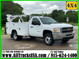 2013 CHEVY 3500HD 4X4 6.0 GAS 3200 lb LIFTMOORE CRANE MECHANICS UTILITY TRUCK