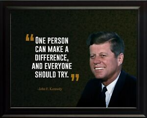 John F. Kennedy One Person Can Poster Print Picture or Framed Wall Art