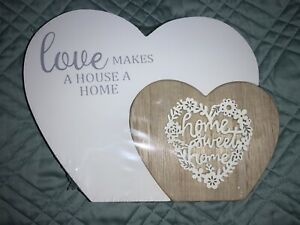 🌸 Home Sweet Home Double Hearts Wooden Home Decor (W11) NWT 🌸