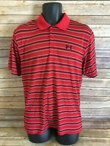 Under Armour Short Sleeve Polo Shirt Size Medium Red Striped Top Casual Golf S S $16.40