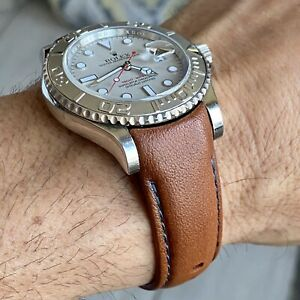 20mm BROWN Calfskin leather curved fitted Band Strap Rolex Yachtmaster GRAY $69.99