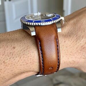 20mm BROWN Calfskin leather curved fitted Band Strap Rolex Yachtmaster BLUE $69.99