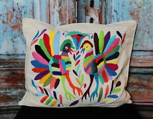 Otomi Decorative Pillow Cover Hand Embroidered Fan Tailed Birds Mexican Folk Art