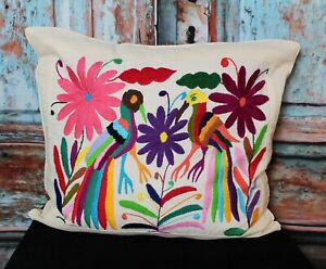 Otomi Decorative Pillow Cover Hand Embroidered Tropical Birds Mexican Folk Art