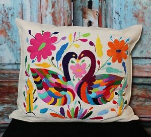Otomi Decorative Pillow Cover Hand Embroidered Two Swans Mexican Folk Art Boho