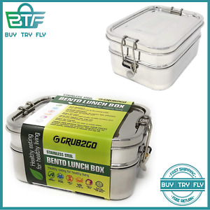 Stainless Steel 3-Layer Bento Lunch Box W/Securlock Lids + Free Food Ideas Guide