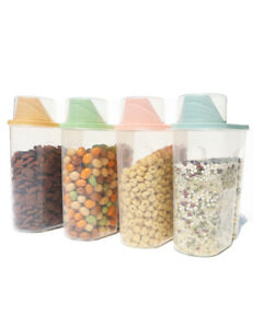 2.5L 4 Pack Food Storage Container For Cereal Rice With Measuring Cup Scal Cover