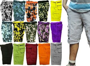MEN#x27;S BELTED CAMOUFLAGE SHORTS WITH CARGO POCKETS 30 32 34 36 38 40 42 44 46