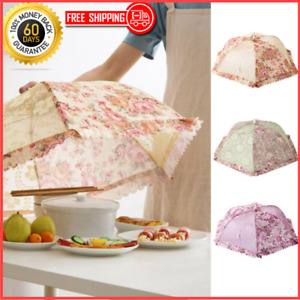 Floral Mesh Screen Protect Food Cover Tent Dome Net Umbrella Picnic Kitchen fold
