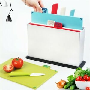 Cutting Boards Set with 4 Matching Ceramic Knives and Storage Case Color-Coded