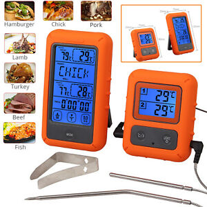 Daul 2 Probes Digital Wireless Remote Meat Cooking Thermometer f Oven BBQ Grill