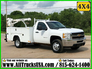 2013 CHEVY 3500HD 4X4 6.0 GAS 3200 lb LIFTMOORE CRANE MECHANICS TRUCK 148K