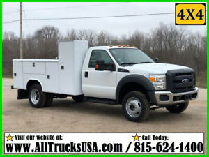 2012 FORD F450 4X4 REG CAB 6.8L V10 GAS 11' READING UTILITY BED SERVICE TRUCK