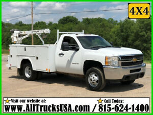 2013 CHEVY 3500HD 4X4 6.0 V8 GAS 3200 lb LIFTMOORE CRANE MECHANICS SERVICE TRUCK