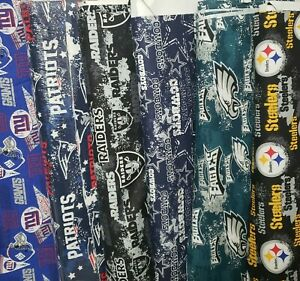 NFL Cotton Fabric By The 1 2 Yard Steelers Raiders Dallas 18 x 58W for Mask