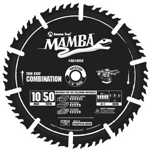 Amana Tool MA10050 Thin Kerf Combination 10 x 50T 4+1 x 5/8 Carbide Tipped Blade