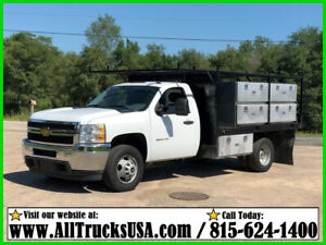 2013 CHEVROLET 3500HD 6.0L VORTEC  V8 GAS 11' FLATBED TRUCK  Regular Cab 116K