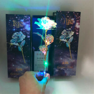 24K Gold Foil Rose Flower LED Luminous Galaxy Father's Day Valentine's Day Gift