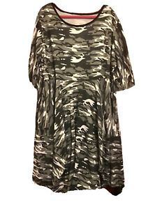 Womens plus size 18-24 OSFA Camouflage stretch pockets exclusive tulip dress