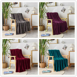 Super Soft Luxurious Plush Fleece Throw Blanket Light Solid Colors 50
