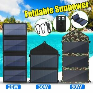 30/50W Folding Solar Panel USB Battery Charger Power Bank Outdoor Camping Hiking