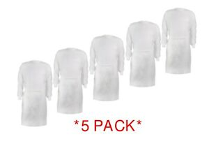 USA STOCK *50 PC* Hospital Surgical Medical Isolation Gown Long Sleeve-WHITE