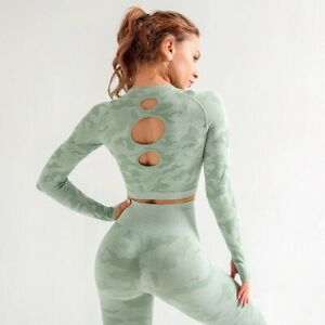 3pcs Women's Yoga Set Camouflage Gym Set Seamless Crop Top Leggings Set Fitness