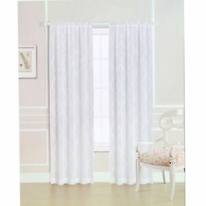 Windsor Embroidered Natural and White Rod Pocket Curtain Panel, Item RB-25
