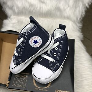 CONVERSE NEWBORN CRIB BOOTIES NAVY 88865 FIRST ALL STAR BABY SHOES SZ 2 $12.99