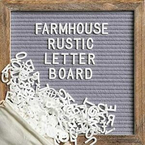 Message Board With 10x10 Inch Rustic Wood Frame Felt Letter Script Words Wall