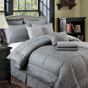 10-piece Solid Plaid Comforter Set