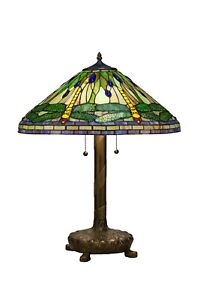 Tiffany Style Green Dragonfly Table Lamp with Library Base 16