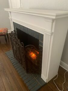 Faux White Wood & Brick electric fireplace
