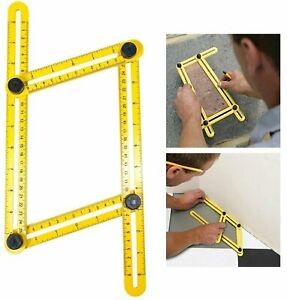 Universal Multi Angle Ruler Foldable Template Tool Measuring Instrument Yellow $11.86