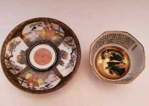 Satsuma Saucer 3 and Sake Cup 2 hand painted signed