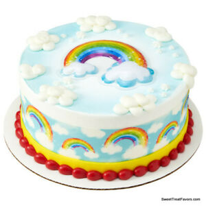 RAINBOW and CLOUDS Cake Decoration Party Supplies TOPPER KIT Plac Birthday NEW