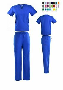 Unisex STRETCH Scrub Sets Solid V Neck Top Cargo Pant Men Women Nursing Uniform