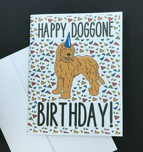 Goldendoodle Dog Happy Birthday Card Funny Dog Breed Note Card for All Ages